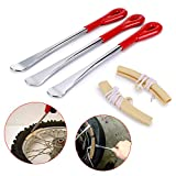 tire spoons motorcycle - Sumnacon Tire Levers Spoon Set, Durable Heavy Duty Motorcycle Bike Car Tire Irons Tool Kit with Hanging Hole,3 Pcs Tire Changing Spoon + 2 Pcs Rim Protector,Red