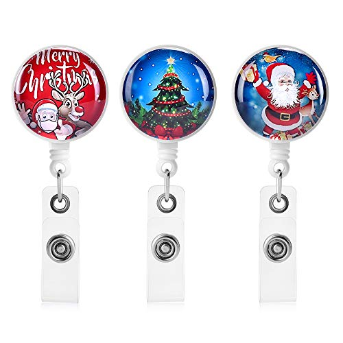 Christmas Badge reels Retractable,3 Pcs Cute Badge Holder Retractable Holiday Badge Reels with Alligator Clip, Name/ID Card Holders for Office Worker Doctor Nurse