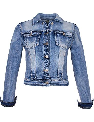 Fraternel Damen Jacke Jeansjacke Denim Jacket talliert Blau XL / 42