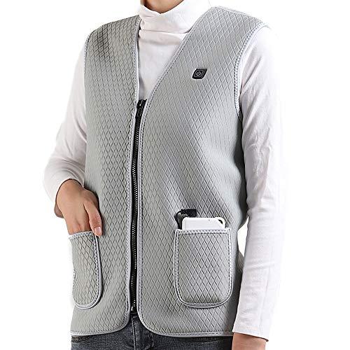 OUYA Gilet Riscaldato Giacca con Il 10000mAh Banca di Potere e 3 Regolabile Temperatura USB Riscaldamento Body Warmer Vest per Outdoor Moto Equitazione Caccia,Grigio,XL