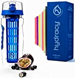 Hydracy Fruit Infuser Water Bottle - 32 Oz Sports Bottle with Full Length Infusion Rod, Time Marker + 27 Fruit Infused Water Recipes eBook Gift - Azure Blue