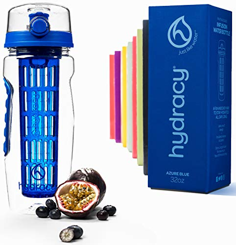 Hydracy Trinkflasche für Fruchtschorlen 1L -Sport Wasserflasche Bpa Frei mit Langem Infuser und Isolierhülle - Detox Sportflasche +27 Köstlichen Rezepten Aufgegossenes Wasser eBook Geschenk -Azur Blau