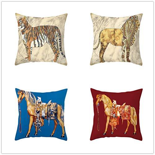 4 pcs Fundas de Cojín Decorativos Tigre caballo Cuadradas Terciopelo Suave Funda de Almohada Cubierta para Cojines Sofá Sala de Estar Cama Habitación Decor Throw Pillow Case T2783 45x45cm/17.6x17.6in