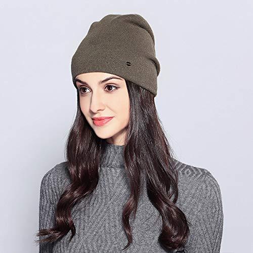 WAYYQX Cappello Cappelli da Donna Casual Berretti Femminili Autunno Inverno Nuovissimo Doppio Strato Spesso 2019 Berretti da Ragazza Lavorati a Maglia, Verde Militare