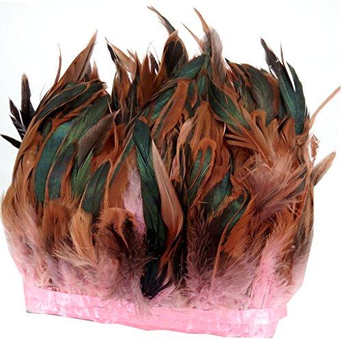 Preisvergleich Produktbild ERGEOB® Echte Hahnenfedern auf 200cm Stoffstreifen in Pink - 13 Farbvarianten - Ideal für Fasching,  Karneval,  Halloween,  Basteln,  Bekleidung,  Kostüme.