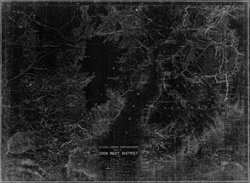 Vintography NOAA Blueprint Style 18 x 24 Nautical Chart MAP of Cook Inlet District by Alaska Road Commission 1923 Alaska Road Commission 26a