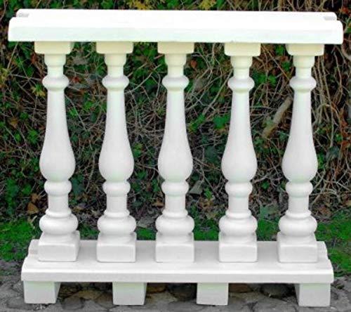 Casa Padrino balaustrada Art Nouveau Blanco 100 x 25 x A. 92 cm - Barandilla de Piedra Maciza Hechas del concreto más Fino - Balaustradas de Jardín y Terraza