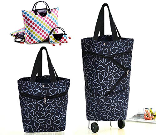 Cocobuy 2 Packungen faltbare Einkaufstasche mit Rädern, zusammenklappbarer Einkaufstrolley, Einkaufstasche auf Rädern, Einkaufstaschen (A schwarz)