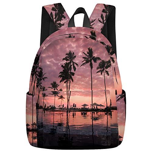 Student College Backpack,Shoulder Bookbags,Travel Backpack,Laptop Bag,Purple Sunset Seaside Pool (15.7x11.8x6.7in) Best Backpacks for Teen Boys and Girls