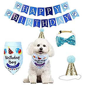 Dog Cat Birthday Bandana Hat Banner Party Supplies Kits Dog Boy Girl Cute Bow Tie Scarf Birthday Party Supplies Decorations