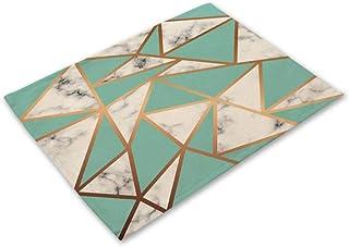 AOM MG0047,2CD-MG0047-5 Set de table de salle à manger en coton et lin Motif géométrique marbre 42 x 32 cm