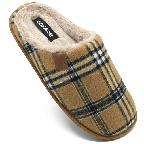 COFACE Mens Brown Flano Plaid Cozy Memory Foam Scuff Slippers Slip On Warm House Shoes Indoor/Outdoor with Best Arch Surpport Size 9