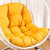 OA&WA Hanging Basket Chair Cushions, Large Seat Cushion Waterproof Hanging Egg Hammock Swing Chair Pads Soft Chair Back Solid Color (Color : Yellow, Size : 125x95cm(49x37inch))