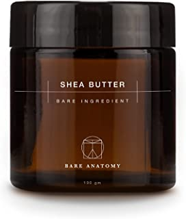 Bare Anatomy Raw Unrefined Shea Butter from Ghana, Africa | Organic Lip Balm for Men and Women | Moisturiser for Dry Skin ...