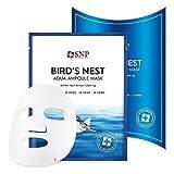 SNP - Bird's Nest Aqua Ampoule Moisturizing Korean Face Sheet Mask - Maximum Hydration & Protection for All Dry Skin Types using Hyaluronic Acid - 10 Sheets