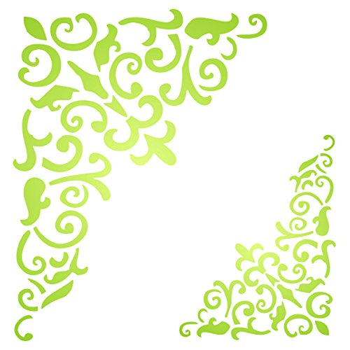 Gothic Corner Stencil, 10 x 13 inch (M) - Flourish Filigree Large Wall Art Decor Stencils for Painting Template