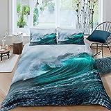 Erosebridal Sea Wave Bedding Set Full Size, Nautical Comforter Cover, Surfing Duvet Cover, Ocean Nature Coastal Theme Quilt Cover, Green Bedding Set for Bedroom Decor with Zipper Closure