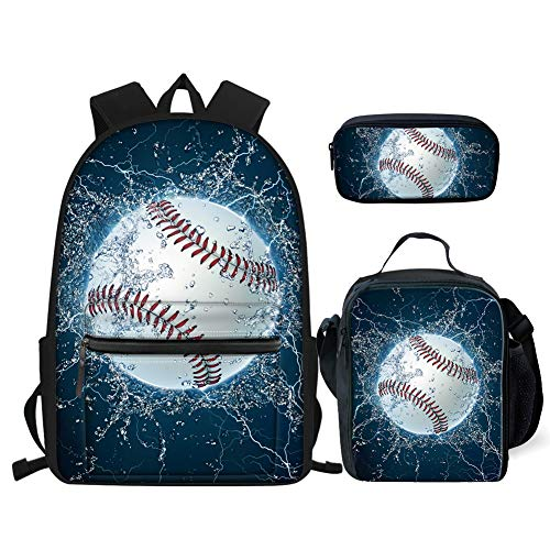 BIGCARJOB Sport Style Backpack Shulder Rucksacks for Mens Boys School 3 in 1 Bookbag Sets Baseball Print