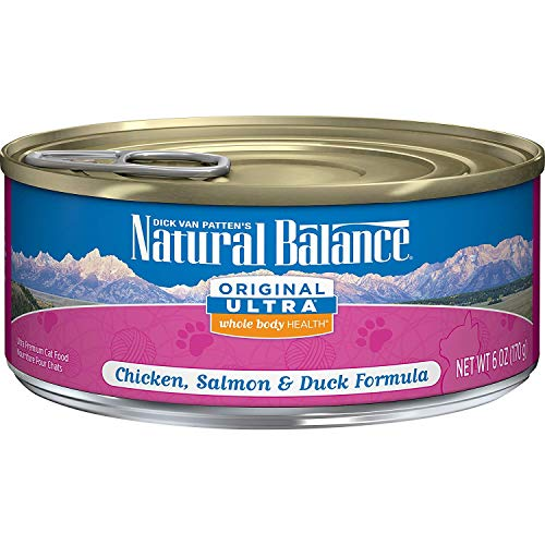 Natural Balance Original Ultra Whole Body Health Wet Cat Food, Chicken, Salmon & Duck Formula, 6 Ounce Can (Pack Of 24)