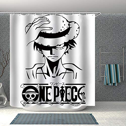 KaiWenLi ONE Piece Series/Luffy Black Cover Pattern/Anime Cartoon Shower Curtain/Bathroom Covering Cloth/Waterproof and Light Blocking/Best Partner for Bathing (Size : 120200cm)