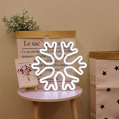 Lámpara LED de Copo de nieve hexagonal funciona con pilas o USB luz de neón luz de neón para dormitorio habitación de los niños, decoración de habitaciones