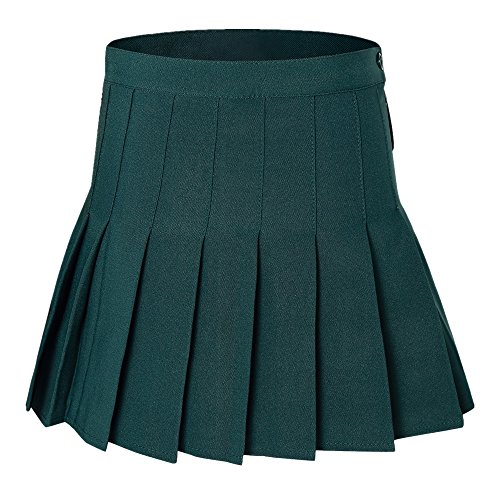 Women's High Waist Pleated Mini Tennis Skirt Dark Green M