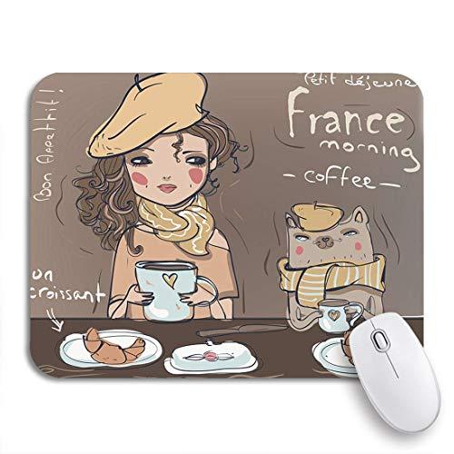 COFEIYISI Mauspad,Office Mauspad(240 * 200mm),Chef Cute Girl Cat Eat Frühstück Kaffee Drink Frankreich,Rutschfeste Mousepad Matte für PC