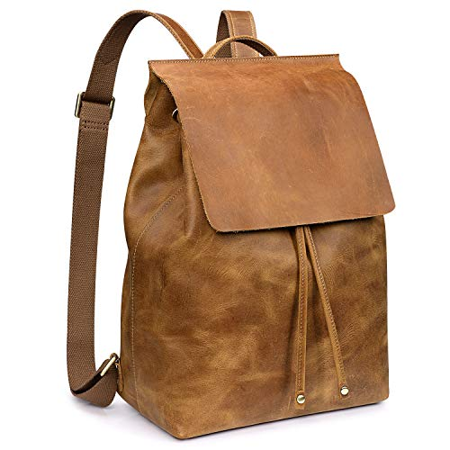 S-ZONE Women Vintage Genuine Leather Backpack Fashion Rucksack Schoolbag Travel Daypack with Luggage Sleeve