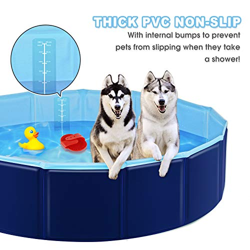YAOBLUESEA Hundepool Schwimmbad für Hunde und Katzen, 80x20CM Faltbarer Pool für Haustiere, Hunde Planschbecken mit PVC-rutschfest (Geschenk-Badebürste)