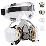 Faburo Respirator Half Mask Respirator Mask Dust Mask with Goggles for Spray Dustproof Paint Insecticide