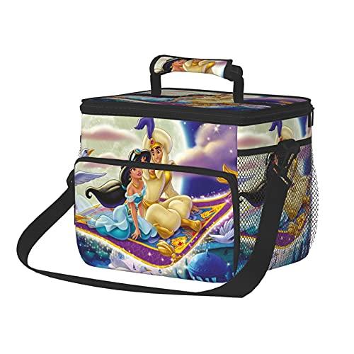 Aladdin Anime Bolsa de almuerzo aislada con correa para el hombro, portátil para exteriores, camping, barbacoa/viajes