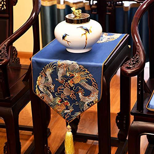 Geborduurde satijnen tafelloper met kwast, Chinese blauwe draak patroon kunst decoratieve lang, dik tafelkleed tafelloper voor home decor kantoor vergaderruimte hotel 35×100 cm (13.8×39.4 inch)