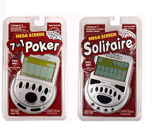 Handheld Games for Adults Gift Pack- Includes Mega Screen Solitaire Handheld Game and 7 in 1 Electronic Poker Games