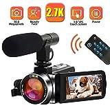 Camescope Caméscope Caméra vidéo 2.7K 30MP Camescope Numerique Full HD avec Microphone Vlogging Caméra Vidéo avec la Fonction Pause Écran Tactile Rotatif de 3,0 po