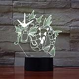 Pokemon Figur Lampe Nachtlicht 7 Bunte Innenlampe Atmosphäre Festival 3D Tischlampe Für Schlafzimmer Dekor