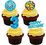 Made4You - Decoración Comestible para Tartas, diseño de oblea de 3 cumpleaños, Color Azul, Impreso Comestible, Pack de 24
