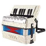 Mini instrumentos musicales de acordeón, 17 teclas, 8 teclas de bajo, instrumento de lengüeta musical blanco para estudiantes principiantes