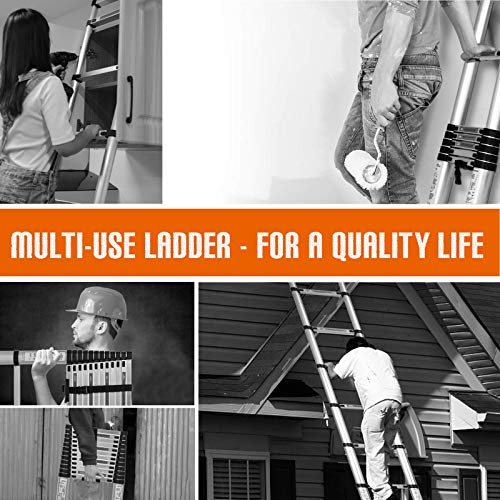 SUNCOO 12.5 FT Extension Ladder, Lightweight Aluminum Telescoping Ladders, Easy Retraction Anti-Slip Telescopic Extendable Climb Attic Ladder with Spring Loaded Locking Mechanism, 330 lbs Capacity