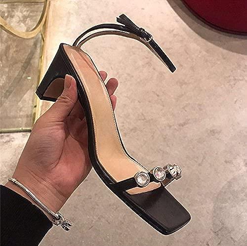 Quadrat mit einem geschlitzten Lasche Wasser bohren Sandalen dick mit high-heeled open Toe Sandalen weiblichen Tide, 38, Schwarz, 6 CM mit
