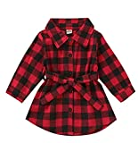 Toddler Kids Girls Red Buffalo Plaid Shirt Long Sleeve Button Down Flannel Check Dress with Belt (A,18-24 Months)