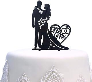 Décoration de gâteau en acrylique Mr and Mrs pour gâteau de mariage