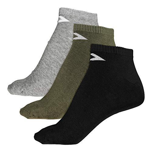 Converse Herren Socken 3-er Pack Basic low cut Füßlinge grau schwarz grün, Größe:39-42 EU