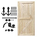 S&Z TOPHAND 42 in. x 84 in. Unfinished British Brace Knotty Barn Door with 8FT Sliding Door Hardware Kit/Solid Wood/Unfinished British Brace Barn Door + 2008 2009 (42in + Anchor)