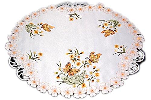 Espamira TISCHDECKE Mitteldecke Rund 60 cm Deckchen Sekt Schmetterlinge Blüte Orange Gestickt Frühlingsdecke Frühling (60 cm)
