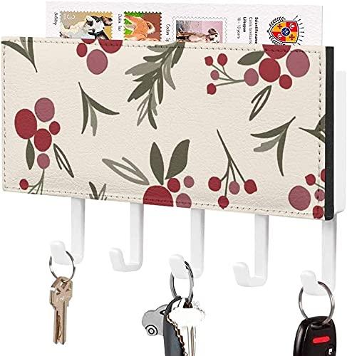 Llavero para gancho para llaves montado en la pared, patrón de hojas de rama de diseño navideño, soporte para correo de entrada a la pared, estante organizador de llaves decorativo con 5 ganchos