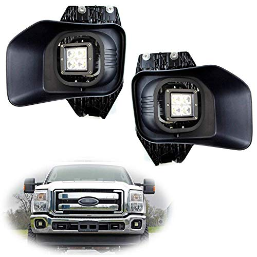 iJDMTOY LED Pod Light Fog Lamps Compatible With 2011-16 Ford F250 F350 F450 Super Duty, Incl (2) 20W High Power CREE LED Cubes, Foglight Bezel Covers, Fog Location Mount Brackets & Switch Wiring