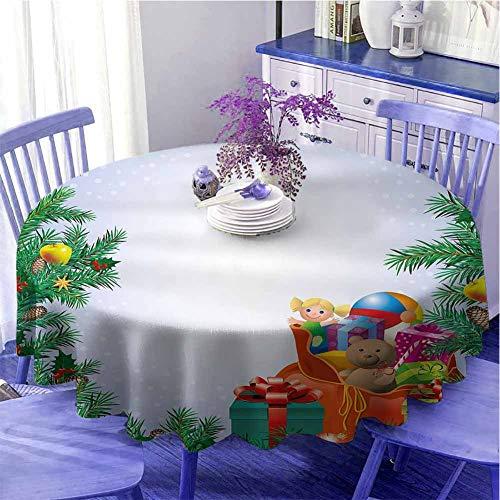 Mantel redondo para fiesta de Año Nuevo Juguetes para niños Composición dentro de una bolsa de Santa Teddy Bear Ball Decorado Restaurante Diámetro 59' Multicolor