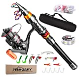 FISHOAKY Fishing Rod Set, 5.90ft Carbon Fiber Telescopic Spinning Fishing Pole and Reel Combo Fishing Gear with Line Lures Tackle Hooks Reel Carrier Bag for Travel Saltwater & Freshwater Kids & Adults