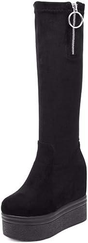 LBTSQ Chaussures Femme Hauteur Intérieure Une Seule La Hauteur du Talon De 12 Cm des Bottes Hautes Bottes Pente Talon mais