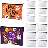 12 Pieces Cosmetic Bags Multipurpose Sublimation Blanks DIY Heat Transfer Makeup Bags Canvas Pen Case Pencil Bag Iron on Transfer Zipper Canvas Pouch Toiletry Pouch (7.9 x 5.5 Inch, 5.9 x 4.7 Inch)